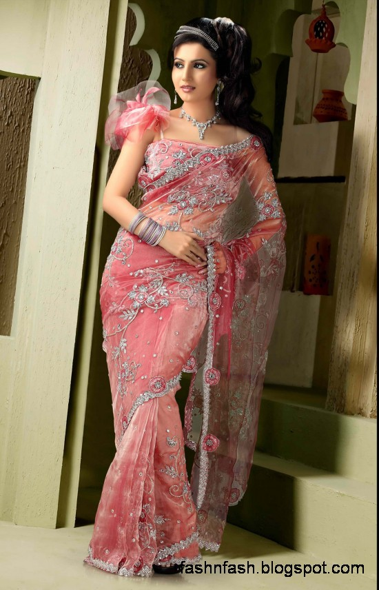 Bridal Wedding Saree Dress Designs Indian Pakistani Fancy