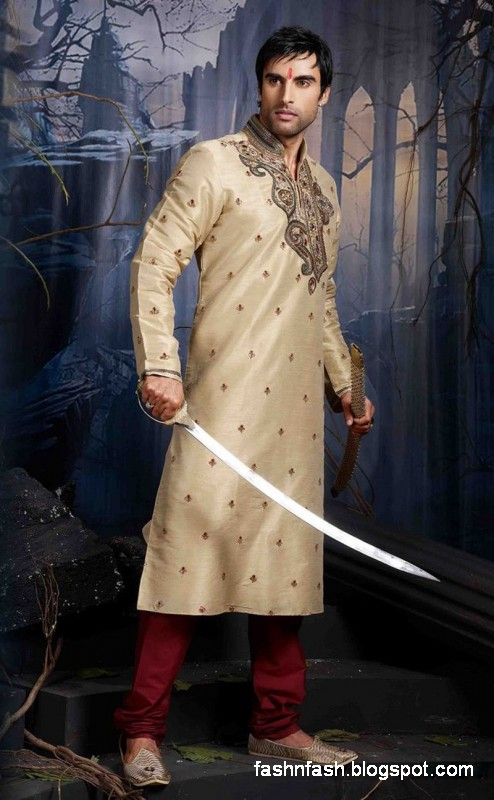 Kurtas Designs-Men-Male New Latest Silk-Cotton Kurta Style Design Collection7