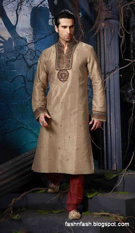 Kurtas Designs-Men-Male New Latest Silk-Cotton Kurta Style Design Collection8