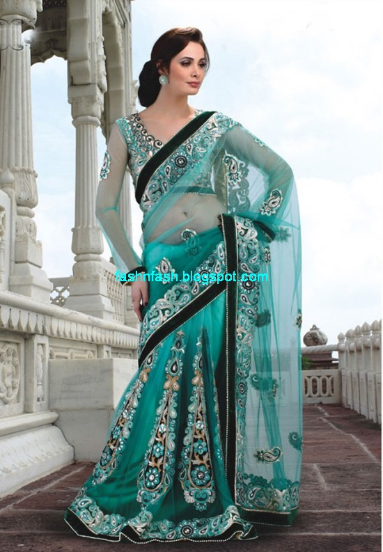 Saree-Designs-Lehanga-Choli-Style-Embroidered-Bridal-Party-Wear-Sari-New-Fashion-Clothes-2
