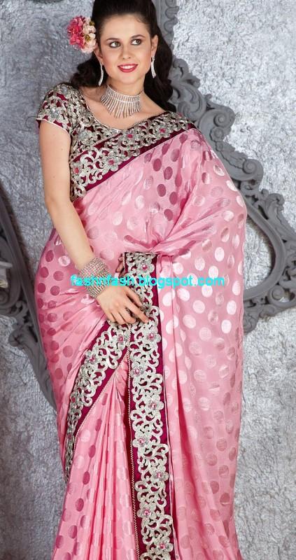 Saree Designs Lehanga Choli Style Embroidered Bridal Party