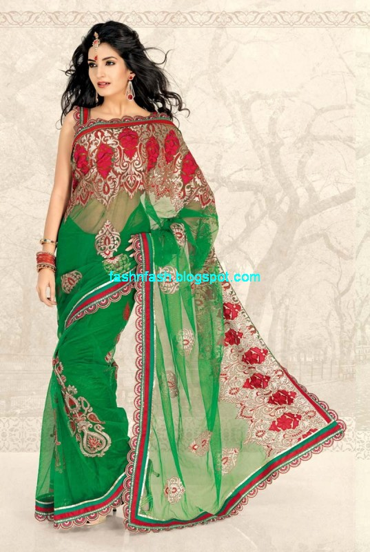Saree Designs-Lehanga-Choli Style Embroidered Bridal Party Wear Sari ...