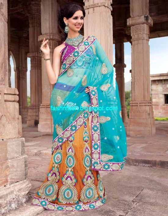 Saree-Designs-Lehanga-Choli-Style-Embroidered-Bridal-Party-Wear-Sari-New-Fashion-Clothes-