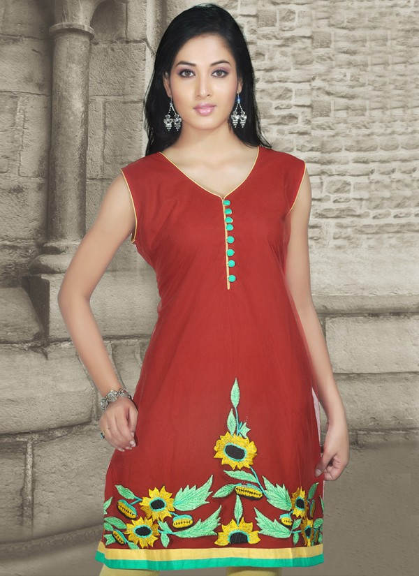 Womens-Girls-Summer-Kurti-Kurta-with-Tights-Jeans-Collection-2013-New-Fashionable-Dress-1