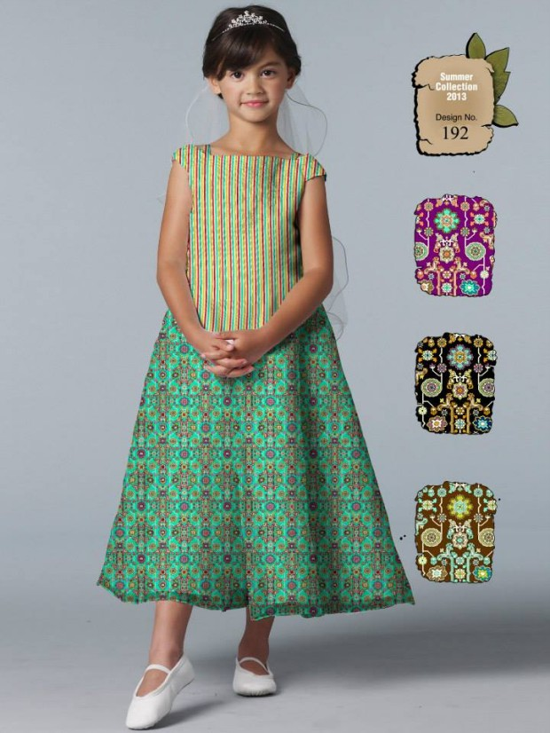 Ajwa kids child summer lawn dress collection 2013 by al for Childrens dress fabric