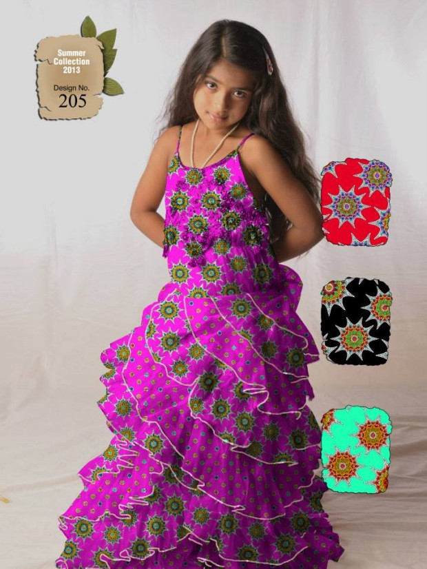 Kids-Childrens-Summer-Casual-Party-Wear-Dresses-Collection-2013-By-Al-Hamra-Fabric-