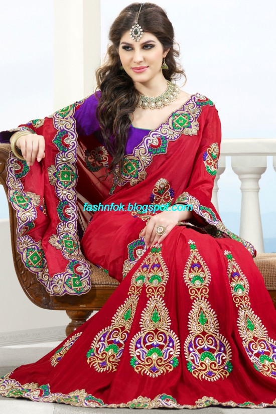 19a9a36521 Indian Sarees for Wedding-Bridal Wear Collection 2013-2014-Latest Printed  Embroidered Fancy Sari
