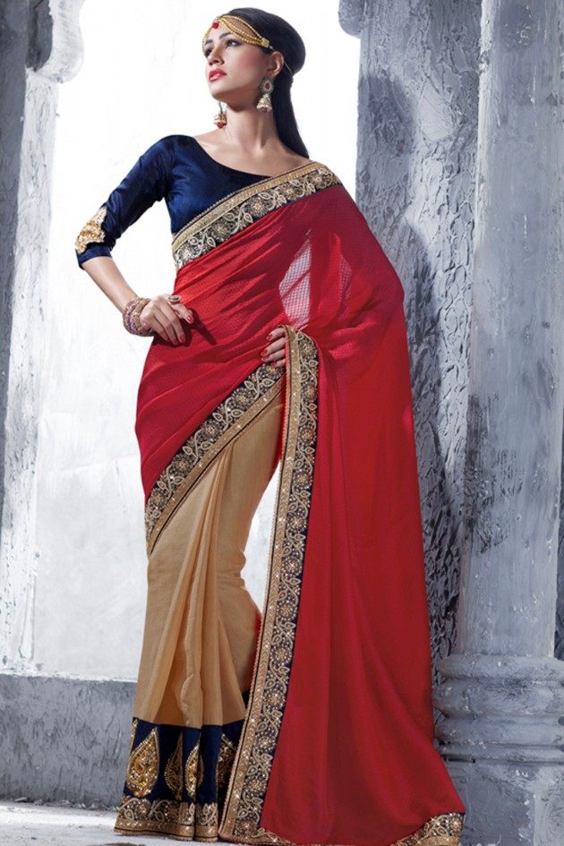 Indian-Brides-Bridal-Wedding-Party-Wear-Embroidered-Saree-Design-New-Fashion-Reception-Sari-15