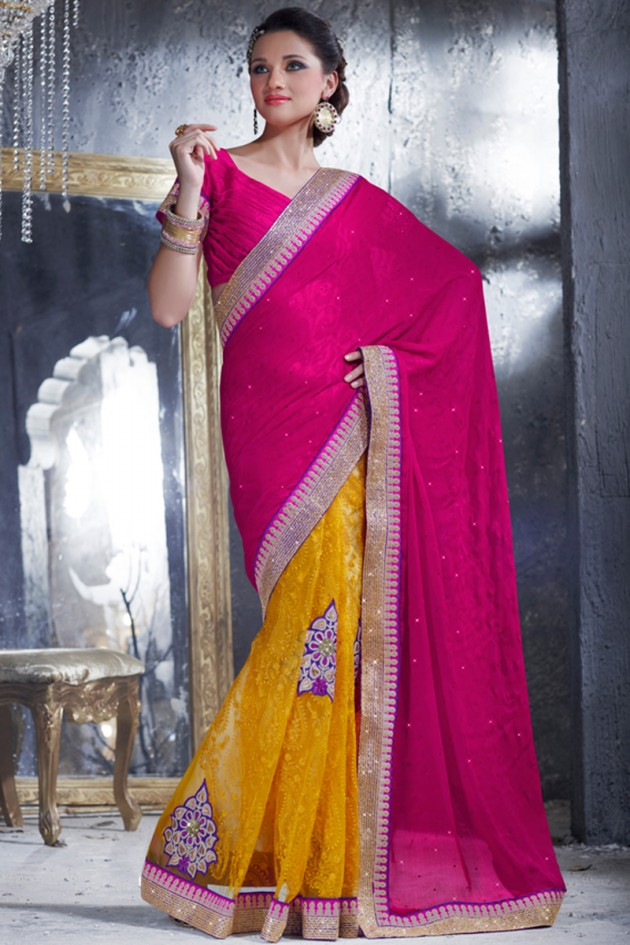 Indian-Brides-Bridal-Wedding-Party-Wear-Embroidered-Saree-Design-New-Fashion-Reception-Sari-16