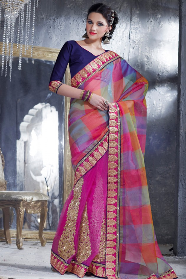 Indian-Brides-Bridal-Wedding-Party-Wear-Embroidered-Saree-Design-New-Fashion-Reception-Sari-18