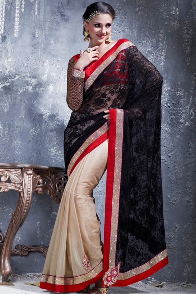 Indian-Brides-Bridal-Wedding-Party-Wear-Embroidered-Saree-Design-New-Fashion-Reception-Sari-9