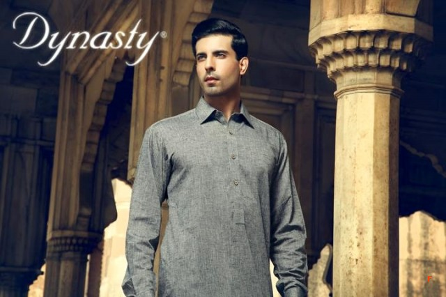 Mens-Wear-Cotton-Embroidered-Kurta-Pajama-By-Dynasty-Fabrics-New-Fall-Collection-2013-14-1