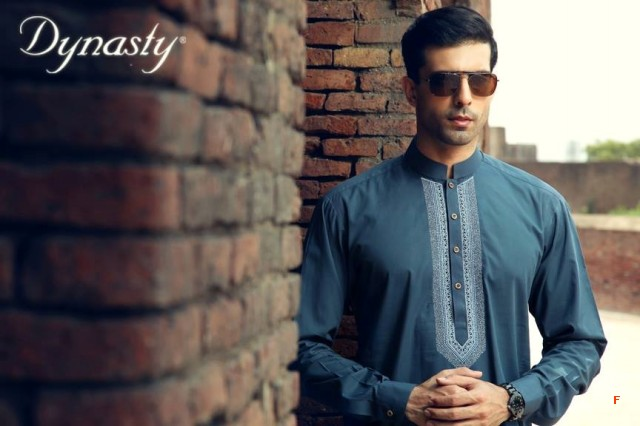 Mens-Wear-Cotton-Embroidered-Kurta-Pajama-By-Dynasty-Fabrics-New-Fall-Collection-2013-14-2