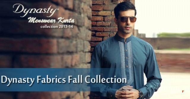 Mens-Wear-Cotton-Embroidered-Kurta-Pajama-By-Dynasty-Fabrics-New-Fall-Collection-2013-14-