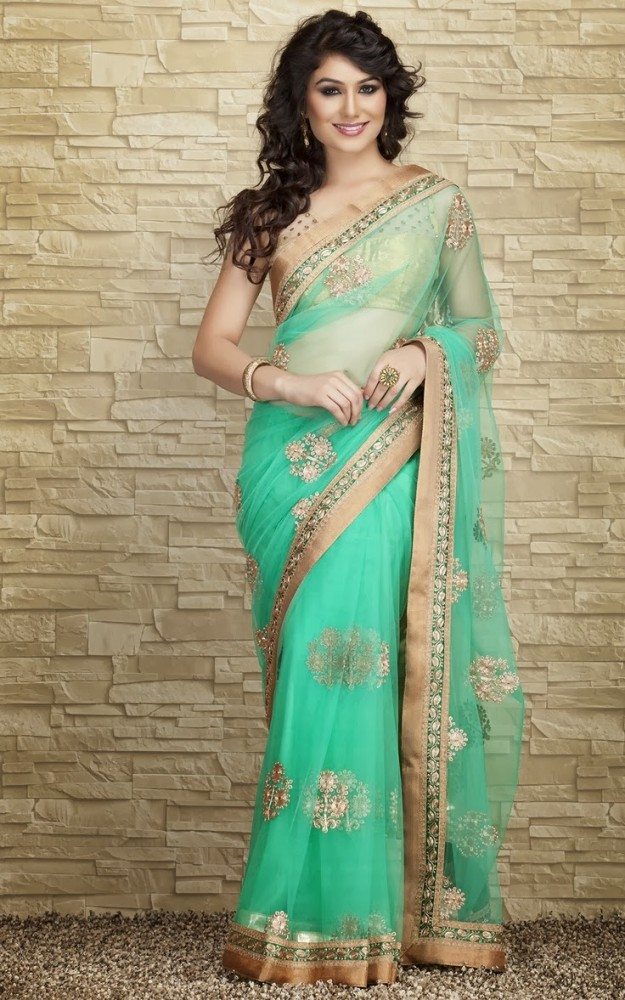 Fashion Glamour World Fok Indian Designers Beautiful Bridal Wedding Saree Dress Design Latest