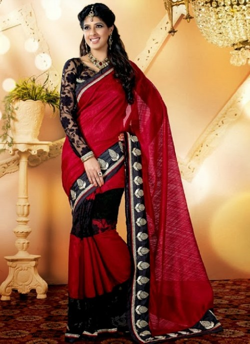 Beautiful-Girls-Women-Wear-Christmas-Exclusive-Saree-Dress-New-Fashion-Red-Suits-Design-18