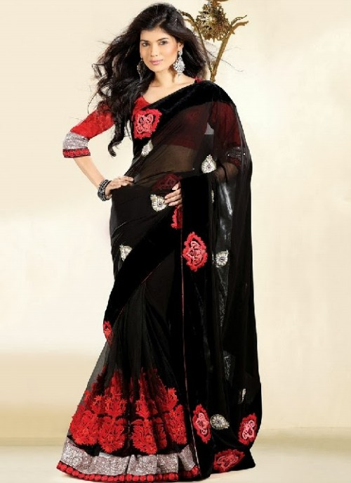 Beautiful-Girls-Women-Wear-Christmas-Exclusive-Saree-Dress-New-Fashion-Red-Suits-Design-6