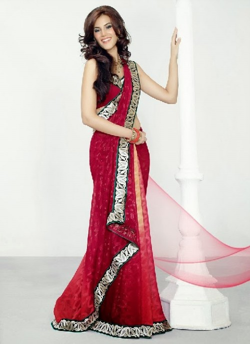 Beautiful-Girls-Women-Wear-Christmas-Exclusive-Saree-Dress-New-Fashion-Red-Suits-Design-9