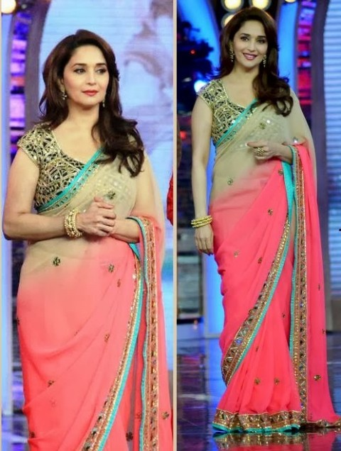 Madhuri-Dixit-Wear-Beautiful-Cute-Pink-Shaded-New-Fashion-Arpita-Mehta-Saree-1