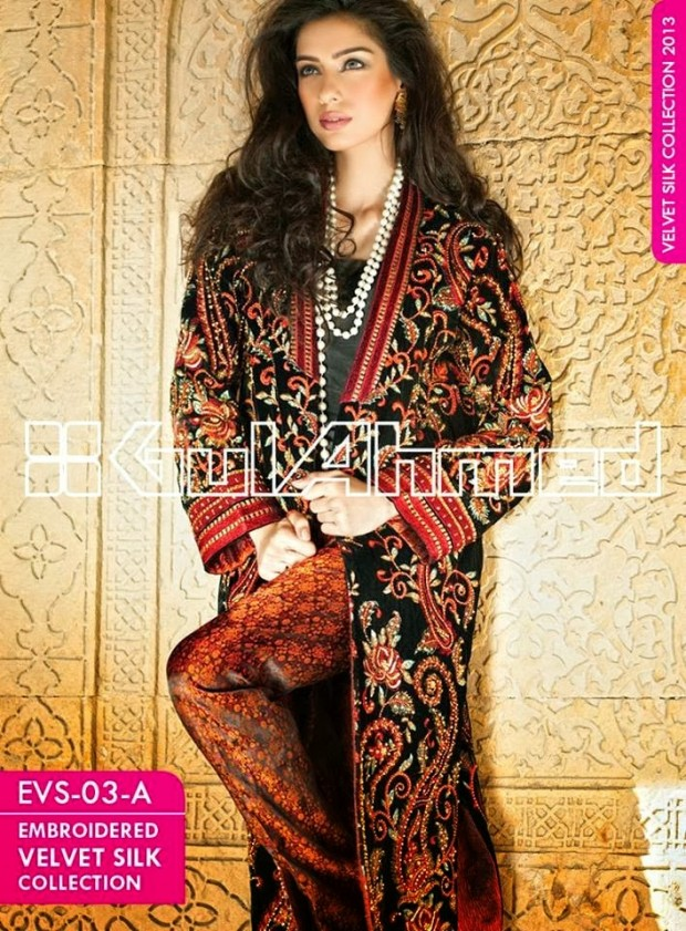 Mens-Women-Wear-Beautiful-Embroidered-Silk-Velvet-Long-Coats-by-Gul-Ahmed-New-Fashion-1