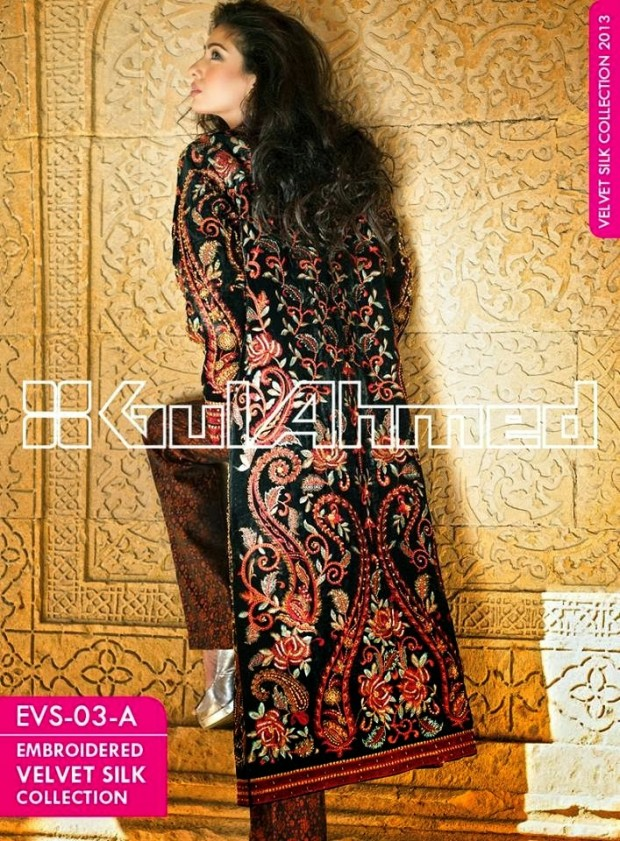Mens-Women-Wear-Beautiful-Embroidered-Silk-Velvet-Long-Coats-by-Gul-Ahmed-New-Fashion-2