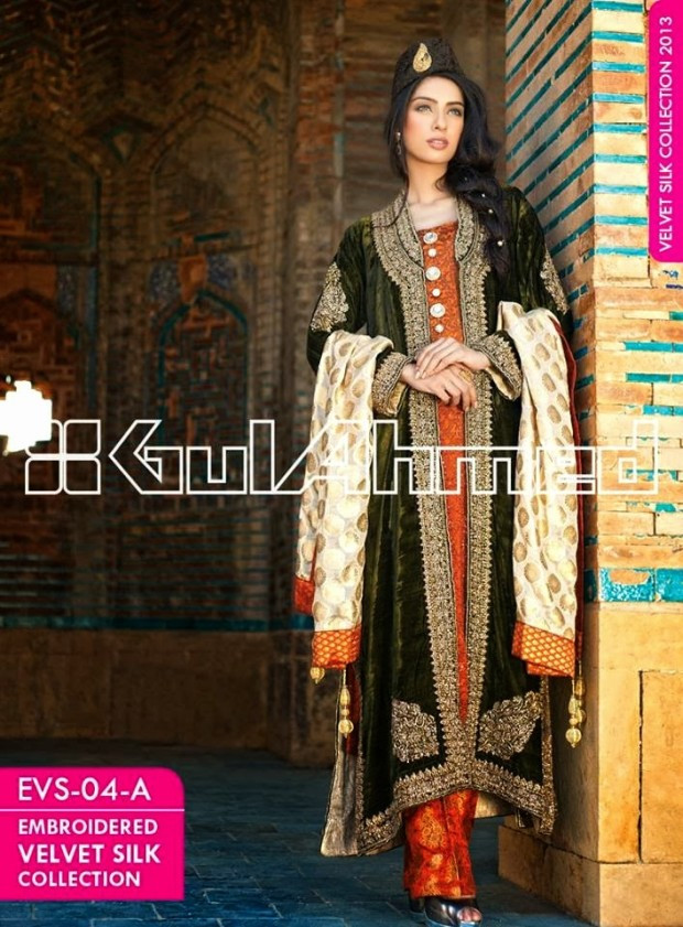 Mens-Women-Wear-Beautiful-Embroidered-Silk-Velvet-Long-Coats-by-Gul-Ahmed-New-Fashion-7