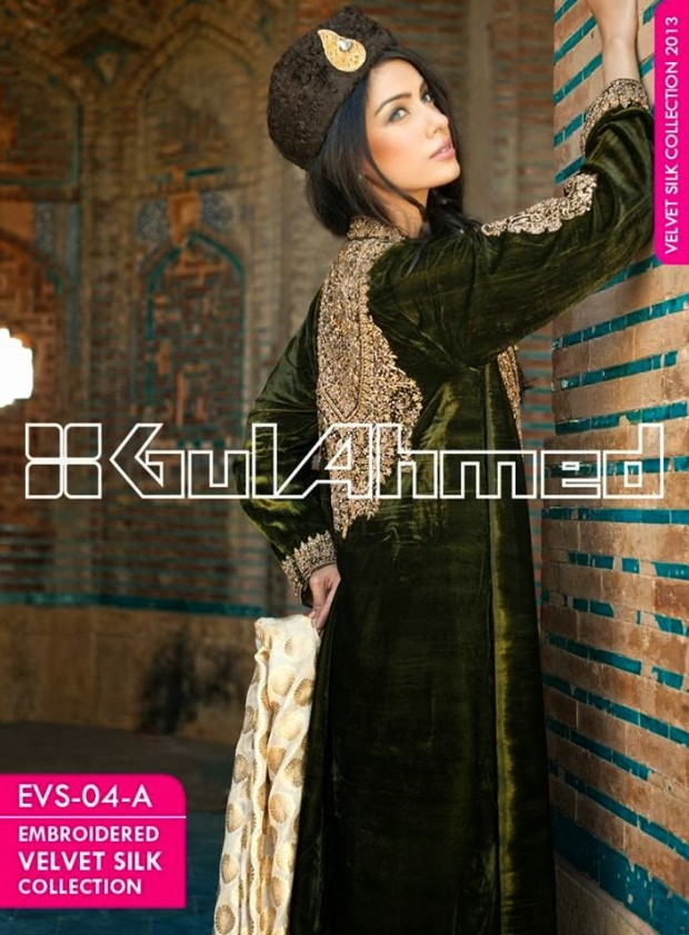 Mens-Women-Wear-Beautiful-Embroidered-Silk-Velvet-Long-Coats-by-Gul-Ahmed-New-Fashion-8