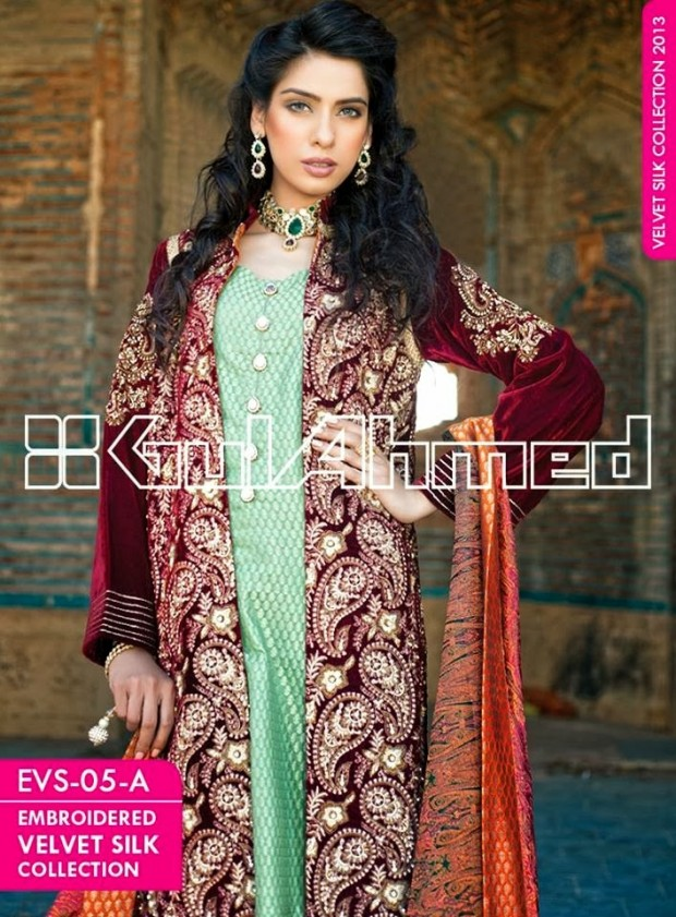 Mens-Women-Wear-Beautiful-Embroidered-Silk-Velvet-Long-Coats-by-Gul-Ahmed-New-Fashion-9