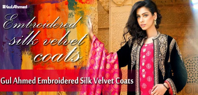 Mens-Women-Wear-Beautiful-Embroidered-Silk-Velvet-Long-Coats-by-Gul-Ahmed-New-Fashion-
