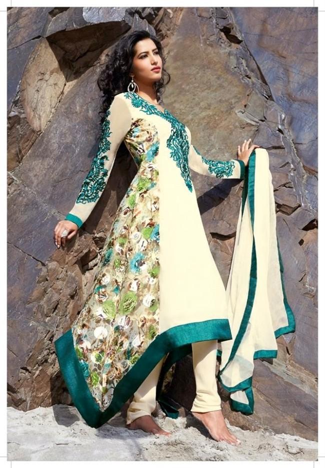 Angeltreats Classy Designer Salwar Kameez Suits 2014 2015 Embroidered Long Shirt Designs Latest Fashionable Dress For Ladies Girl