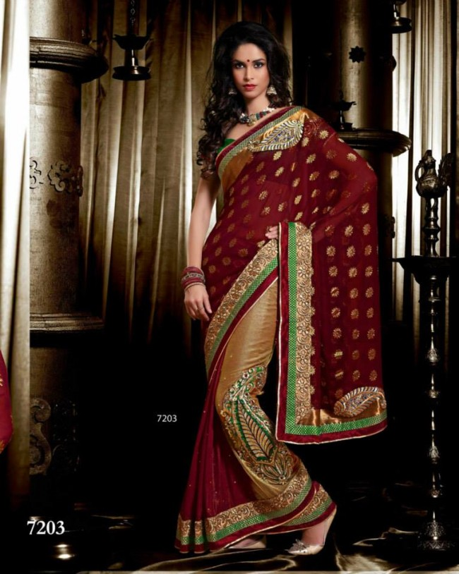 Wedding-Bridals-Indian-Printed-Colorful-Garnet-Red-Sarees-New-Fashion-Sari-Dress-for-Girls-Women-1