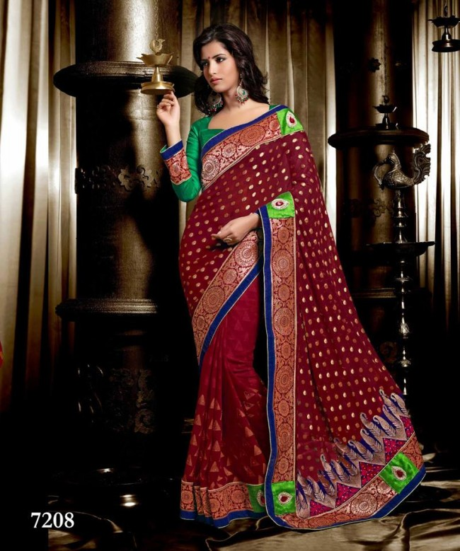 Wedding-Bridals-Indian-Printed-Colorful-Garnet-Red-Sarees-New-Fashion-Sari-Dress-for-Girls-Women-10