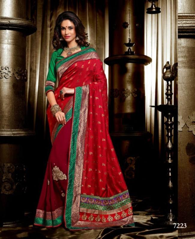 Wedding-Bridals-Indian-Printed-Colorful-Garnet-Red-Sarees-New-Fashion-Sari-Dress-for-Girls-Women-13