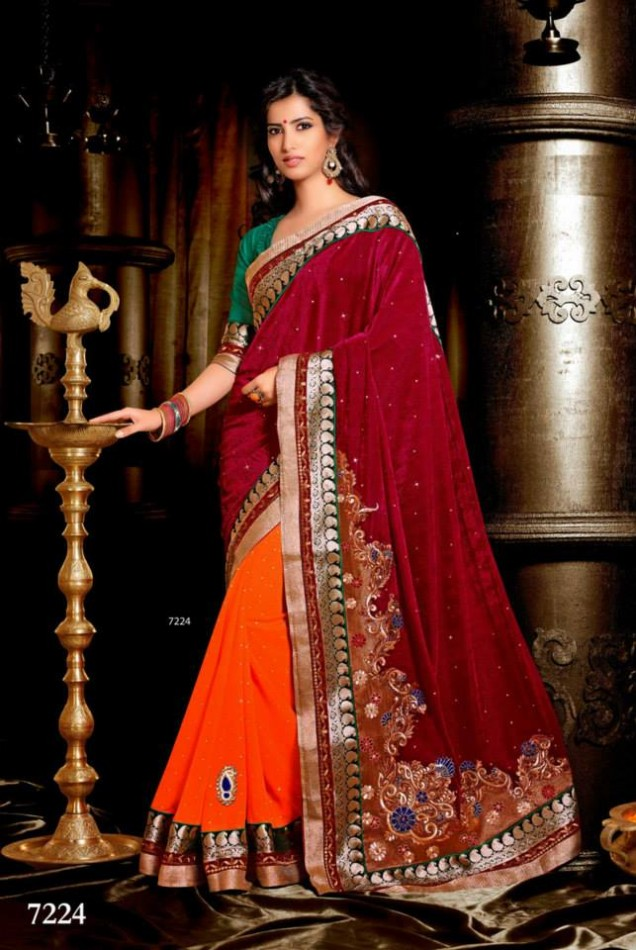 Wedding-Bridals-Indian-Printed-Colorful-Garnet-Red-Sarees-New-Fashion-Sari-Dress-for-Girls-Women-17