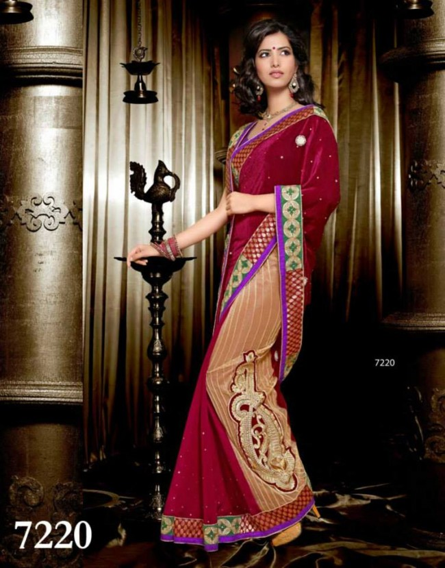Wedding-Bridals-Indian-Printed-Colorful-Garnet-Red-Sarees-New-Fashion-Sari-Dress-for-Girls-Women-2