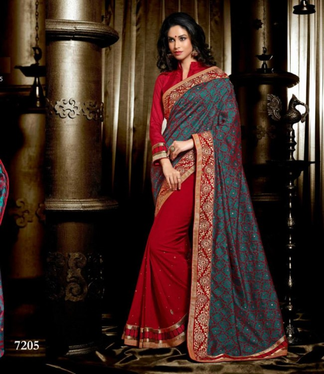 Wedding-Bridals-Indian-Printed-Colorful-Garnet-Red-Sarees-New-Fashion-Sari-Dress-for-Girls-Women-3
