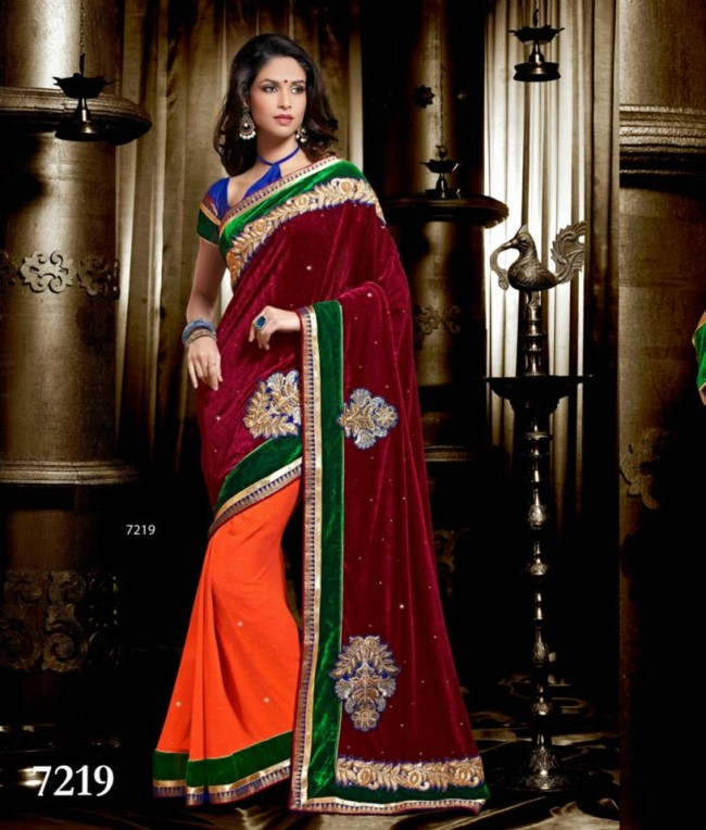 Wedding-Bridals-Indian-Printed-Colorful-Garnet-Red-Sarees-New-Fashion-Sari-Dress-for-Girls-Women-4