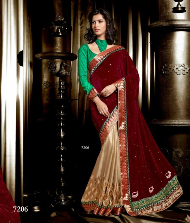 Wedding-Bridals-Indian-Printed-Colorful-Garnet-Red-Sarees-New-Fashion-Sari-Dress-for-Girls-Women-5