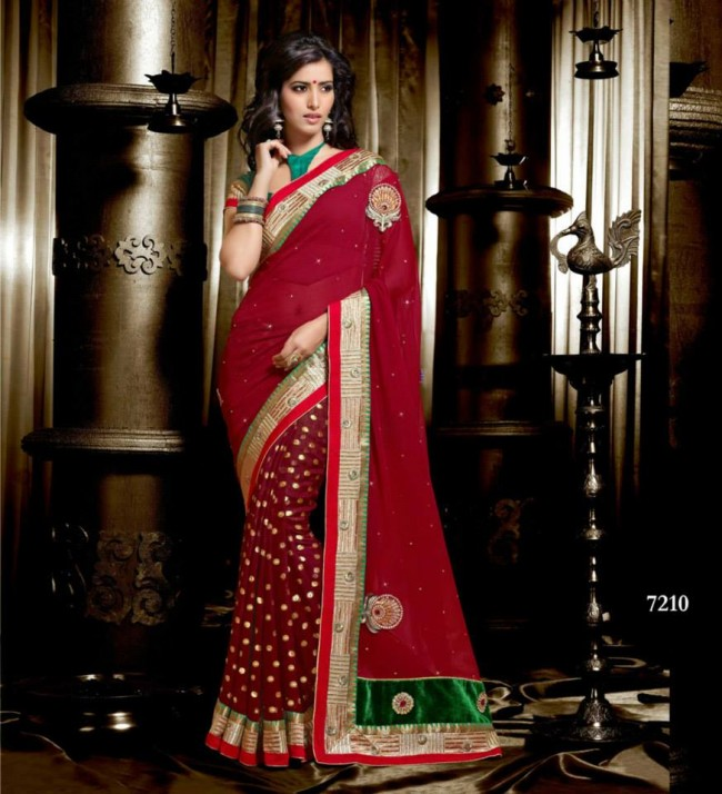 Wedding-Bridals-Indian-Printed-Colorful-Garnet-Red-Sarees-New-Fashion-Sari-Dress-for-Girls-Women-6