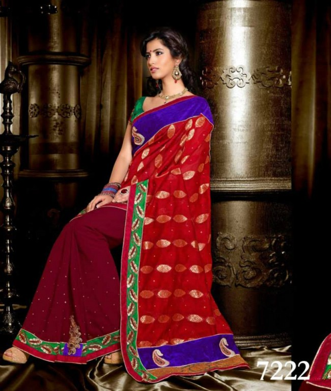 Wedding-Bridals-Indian-Printed-Colorful-Garnet-Red-Sarees-New-Fashion-Sari-Dress-for-Girls-Women-7