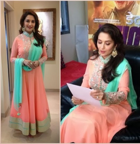 Madhuri-Dixit-Wear-Beautiful-Anarkali-Frock-Suits-and-Bollywood-New-Fashion-Sarees-Pics-2