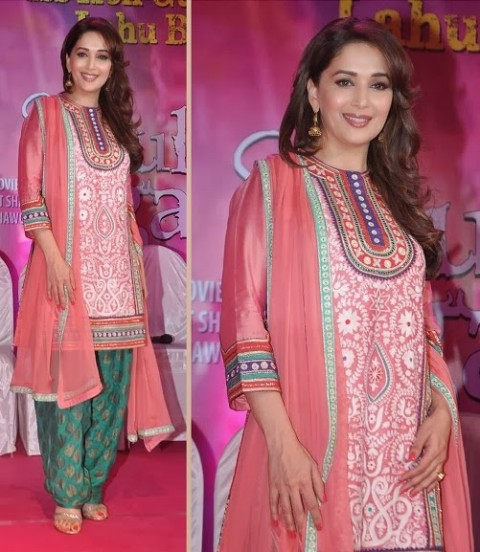 Madhuri-Dixit-Wear-Beautiful-Anarkali-Frock-Suits-and-Bollywood-New-Fashion-Sarees-Pics-6