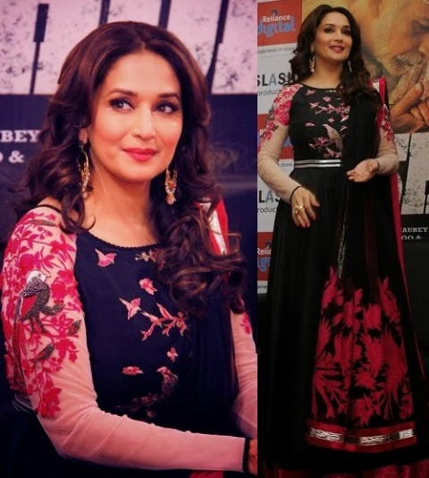 Madhuri-Dixit-Wear-Beautiful-Anarkali-Frock-Suits-and-Bollywood-New-Fashion-Sarees-Pics-7