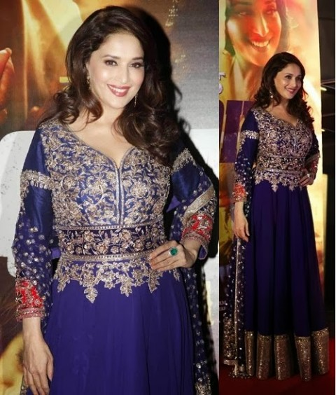 Madhuri-Dixit-Wear-Beautiful-Anarkali-Frock-Suits-and-Bollywood-New-Fashion-Sarees-Pics-9