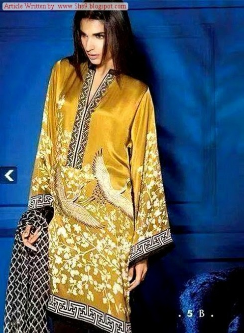 Women-Girls-Wear-Beautiful-Mid-Summer-Spring-Silk-New-Fashion-Dress-by-Sana-Safinaz-9
