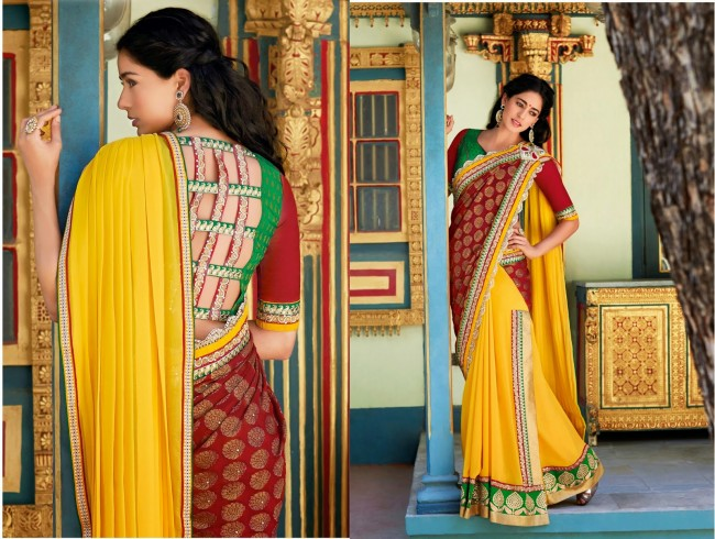 Womens-Girls-Wear-Indian-Festive-Stylish-Classy-Sari-New-Fashion-Blouse-Sarees-3