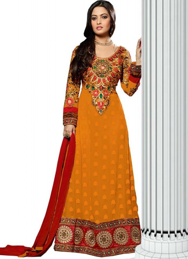 Anarkali Georgette Churidar Salwar-Kameez Suits New Fashion Dress for Girls-Women by Cbazaar-4