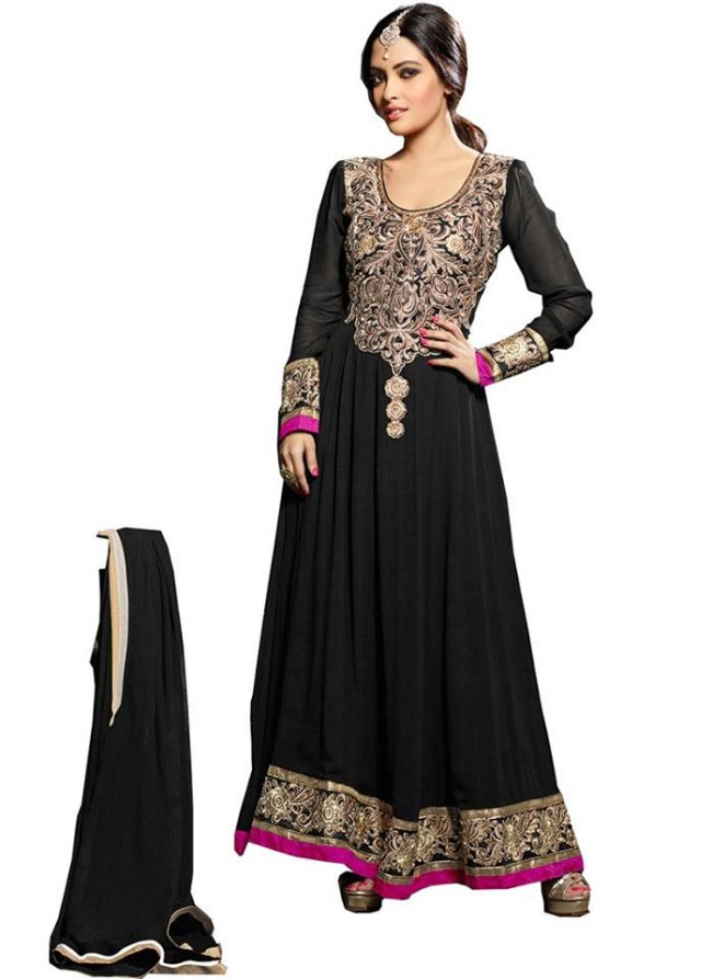 Anarkali Georgette Churidar Salwar-Kameez Suits New Fashion Dress for Girls-Women by Cbazaar-5
