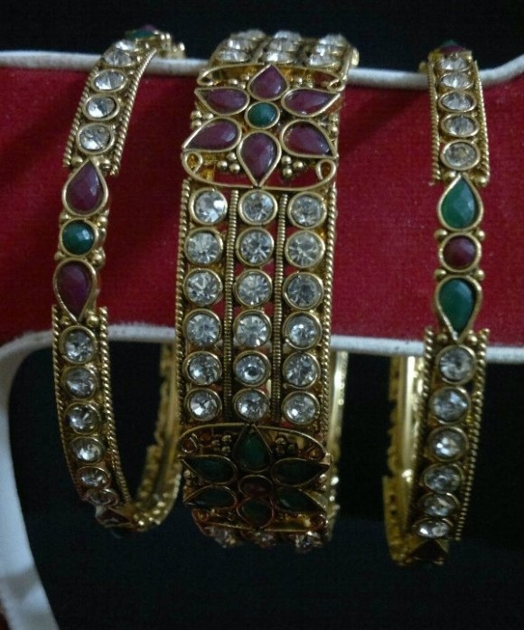 Indian Bridal-Wedding Wear Gold Bracelet Bangles Chura For Brides New Dulhan Fashion-6