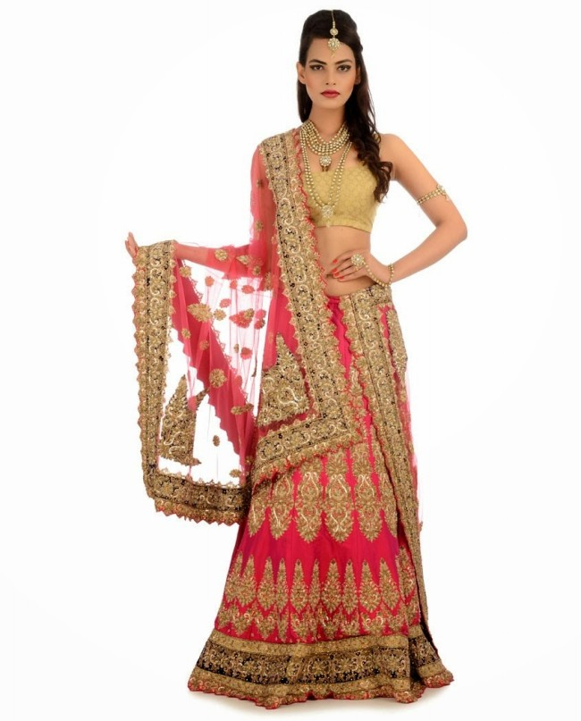 Indian Designer Wedding-Bridal Wear Brides Beautiful New Fashion Lehangas-Choli Dress-1